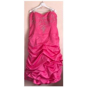 Coral Pink Silver Embellished Ruffle Prom Dress